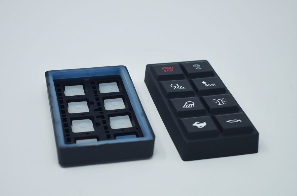 Molded Rubber Keypad with Light Block Inserts